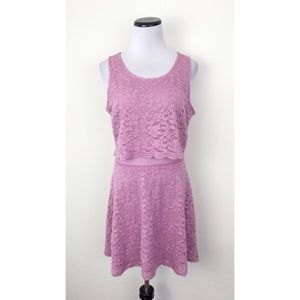 NWT Candie's Purple Lace Sleeveless Dress Large
